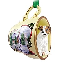 Jack Russell Terrier Brown & White w/Smooth Coat Tea Cup Snowman Holiday Ornament