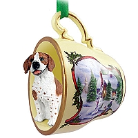 Pointer Brown & White Tea Cup Snowman Holiday Ornament