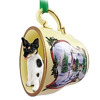 Rat Terrier Tea Cup Snowman Holiday Ornament