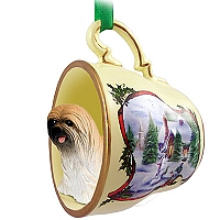 Lhasa Apso Brown Tea Cup Snowman Holiday Ornament