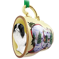 Japanese Chin Black & White Tea Cup Snowman Holiday Ornament