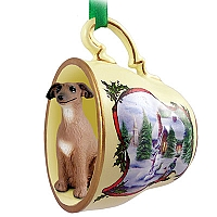 Italian Greyhound Tea Cup Snowman Holiday Ornament
