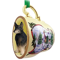 Belgian Tervuren Tea Cup Snowman Holiday Ornament