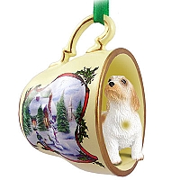 Petit Basset Griffon Vendeen Tea Cup Snowman Holiday Ornament
