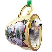 Bedlington Terrier Tea Cup Snowman Holiday Ornament