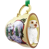 Clumber Spaniel Tea Cup Snowman Holiday Ornament
