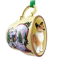 Collie Smoth Hair Tea Cup Snowman Holiday Ornament