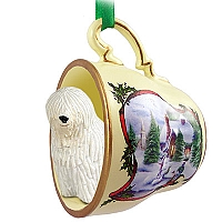 Komondor Tea Cup Snowman Holiday Ornament