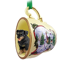 Rottweiler Tea Cup Snowman Holiday Ornament