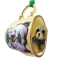 Dandie Dinmont Tea Cup Snowman Holiday Ornament