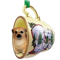 Tibetan Spaniel Tea Cup Snowman Holiday Ornament