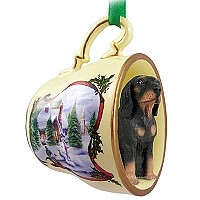 Coonhound Black & Tan Tea Cup Snowman Holiday Ornament