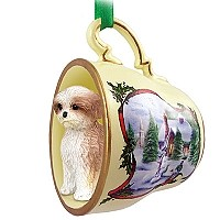 Shih Tzu Tan w/Sport Cut Tea Cup Snowman Holiday Ornament