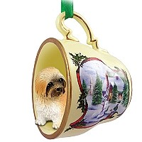 Lhasa Apso Brown w/Sport Cut Tea Cup Snowman Holiday Ornament