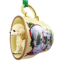 Cockapoo Blond Tea Cup Snowman Holiday Ornament