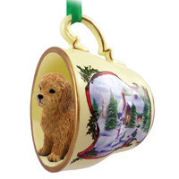 Goldendoodle Tea Cup Snowman Holiday Ornament