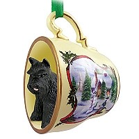 Schnauzer Black Tea Cup Snowman Holiday Ornament