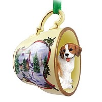 Beagle Tea Cup Snowman Holiday Ornament