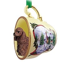 Cocker Spaniel Brown Tea Cup Snowman Holiday Ornament