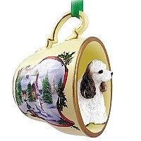Cocker Spaniel Brown & White Tea Cup Snowman Holiday Ornament