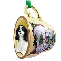 Cocker Spaniel Black & White Tea Cup Snowman Holiday Ornament