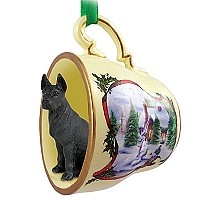 Great Dane Black Tea Cup Snowman Holiday Ornament