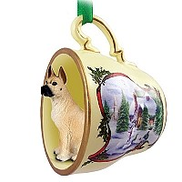Great Dane Fawn Tea Cup Snowman Holiday Ornament