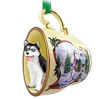 Husky Black & White w/Blue Eyes Tea Cup Snowman Holiday Ornament