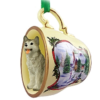 Husky Gray & White w/Brown Eyes Tea Cup Snowman Holiday Ornament