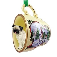 Pug Fawn Tea Cup Snowman Holiday Ornament