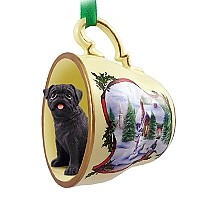 Pug Black Tea Cup Snowman Holiday Ornament