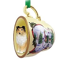 Sheltie Sable Tea Cup Snowman Holiday Ornament