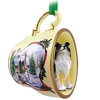 Collie Tricolor Tea Cup Snowman Holiday Ornament