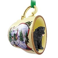 Labrador Retriever Black Tea Cup Snowman Holiday Ornament