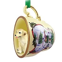 Labrador Retriever Yellow Tea Cup Snowman Holiday Ornament