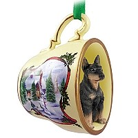 Doberman Pinscher Black w/Cropped Ears Tea Cup Snowman Holiday Ornament