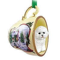 Bichon Frise Tea Cup Snowman Holiday Ornament