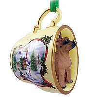 Boxer Tawny Tea Cup Snowman Holiday Ornament