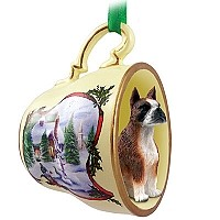 Boxer Brindle Tea Cup Snowman Holiday Ornament
