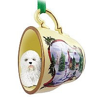 Old English Sheepdog Tea Cup Snowman Holiday Ornament