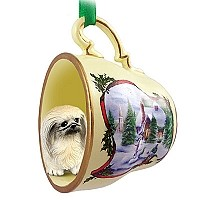 Pekingese Tea Cup Snowman Holiday Ornament