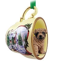 Shar Pei Brown Tea Cup Snowman Holiday Ornament