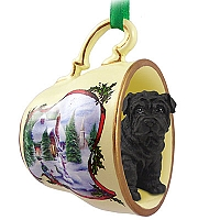 Shar Pei Black Tea Cup Snowman Holiday Ornament
