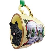 Scottish Terrier Tea Cup Snowman Holiday Ornament