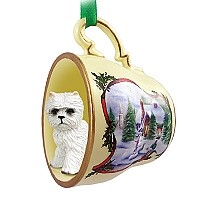 West Highland Terrier Tea Cup Snowman Holiday Ornament