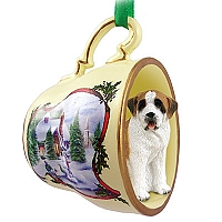 Saint Bernard w/Smooth Coat Tea Cup Snowman Holiday Ornament