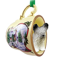 Skye Terrier Tea Cup Snowman Holiday Ornament