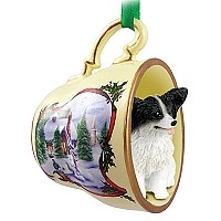 Papillon Black & White Tea Cup Snowman Holiday Ornament