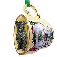 Staffordshire Bull Terrier Brindle Tea Cup Snowman Holiday Ornament