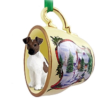 Fox Terrier Brown & White Tea Cup Snowman Holiday Ornament